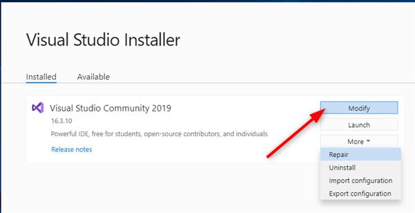 Modifier une installation de Visual Studio Community 2019
