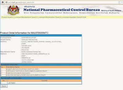 Pengesahan Nutriferon dari Biro Pengawalan Farmaseutikal Kebangsaan, Kementerian Kesihatan Malaysia