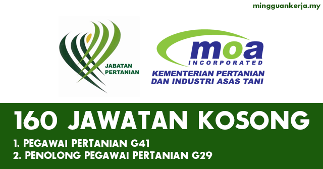Mohon Online 160 Kekosongan di Jabatan Pertanian Malaysia Seluruh Negara ~ Tutup 26 Februari 2020