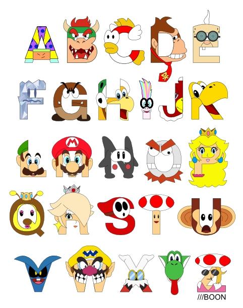 Abecedario Formado con Personajes de Super Mario Bros.