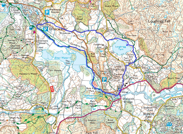 Map Loughrigg Tarn walk Elterwater Skelwith Bridge Ambleside map route