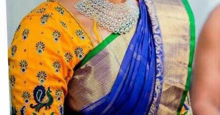 d38fdb0131f532 Blue Saree Yellow Lotus Blouse - Saree Blouse Patterns