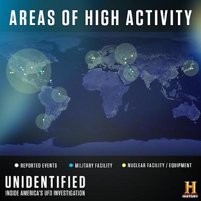Mapa con puntos de acceso OVNI del Pentágono/AATIP
