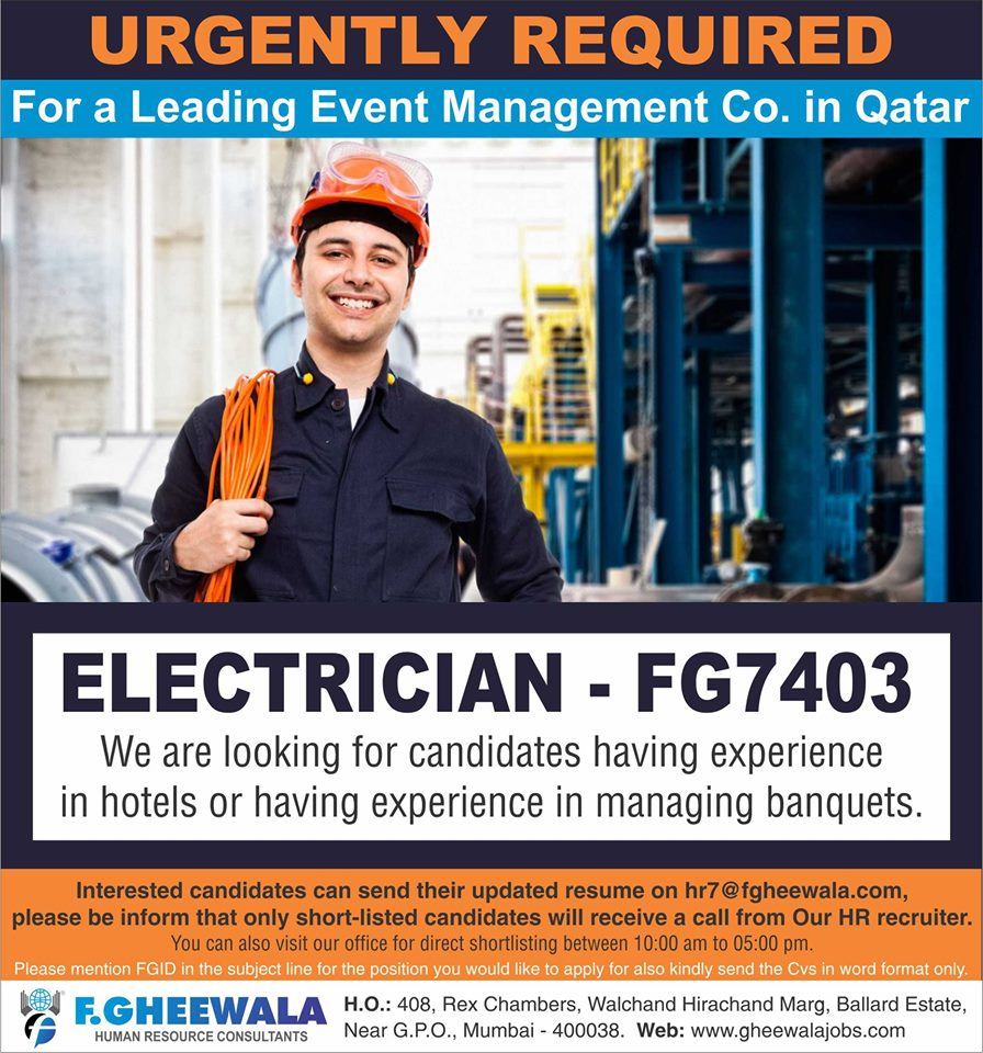 Electrician for Event Management co in Qatar