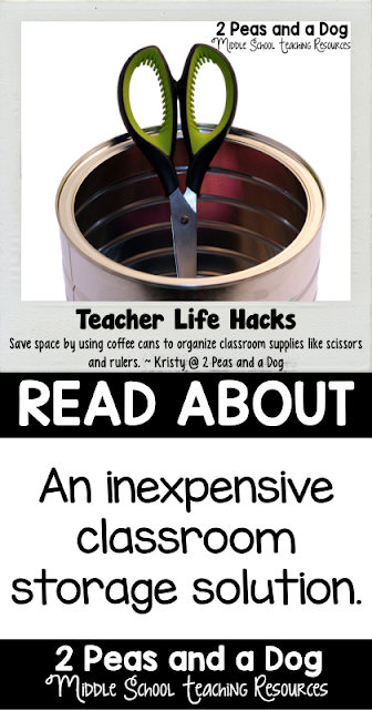 Save your coffee cans to organize tall classroom supplies.