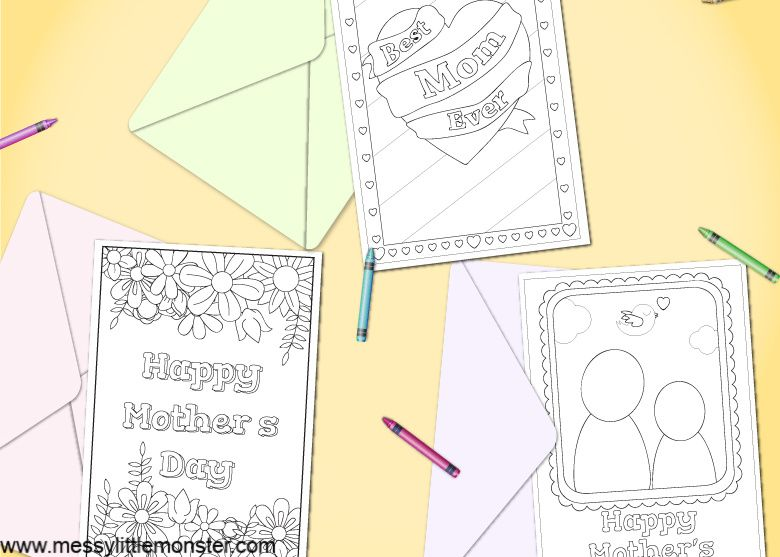 Mother's Day Printable Cards for kids to colour