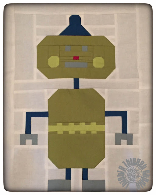 """Robots All In A Row"" Green Robot by Thistle Thicket Studio. www.thistlethicketstudio.com"