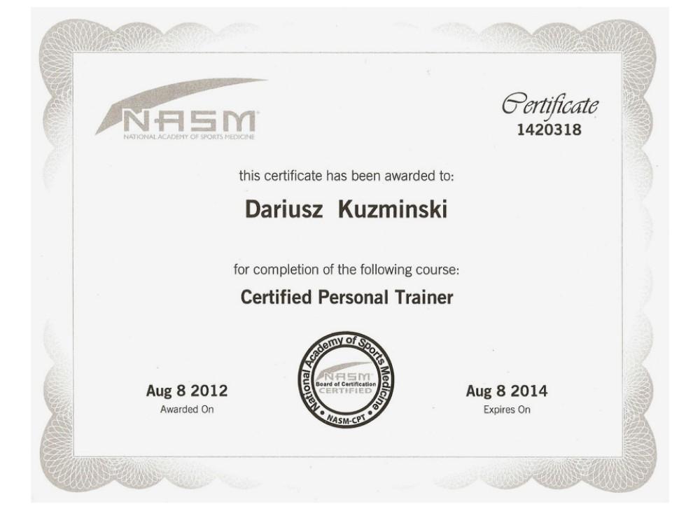 Examples Of Best Certificate Nasm Certification Tr71