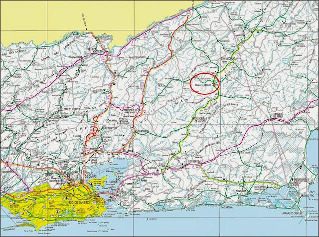 Mapa rodoviário de localização de Nova Friburgo