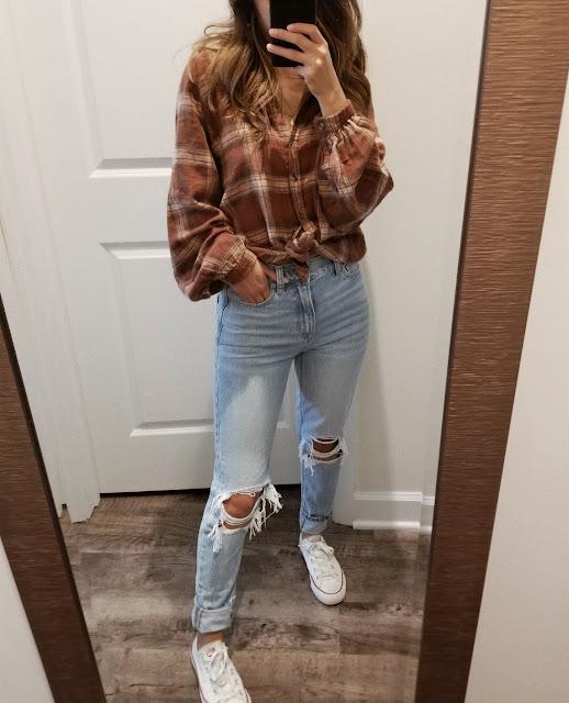 american eagle mom jeans uber cool, american eagle mom jeans review, american eagle try on haul fall 2019