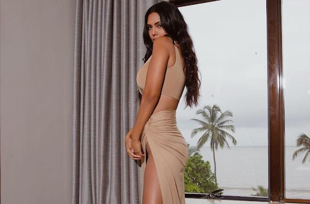 Esha Gupta in nude bralette and waist-high slit skirt set is ravishing