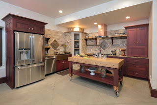 A kitchen with rustic design elements