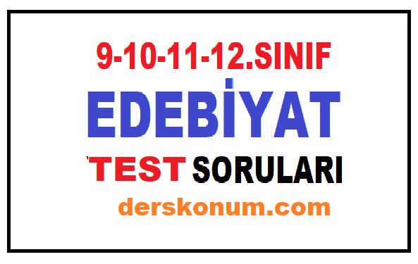 9. 10. 11. 12. Sınıf Edebiyat Test Soruları PDF İndir, Online Çöz