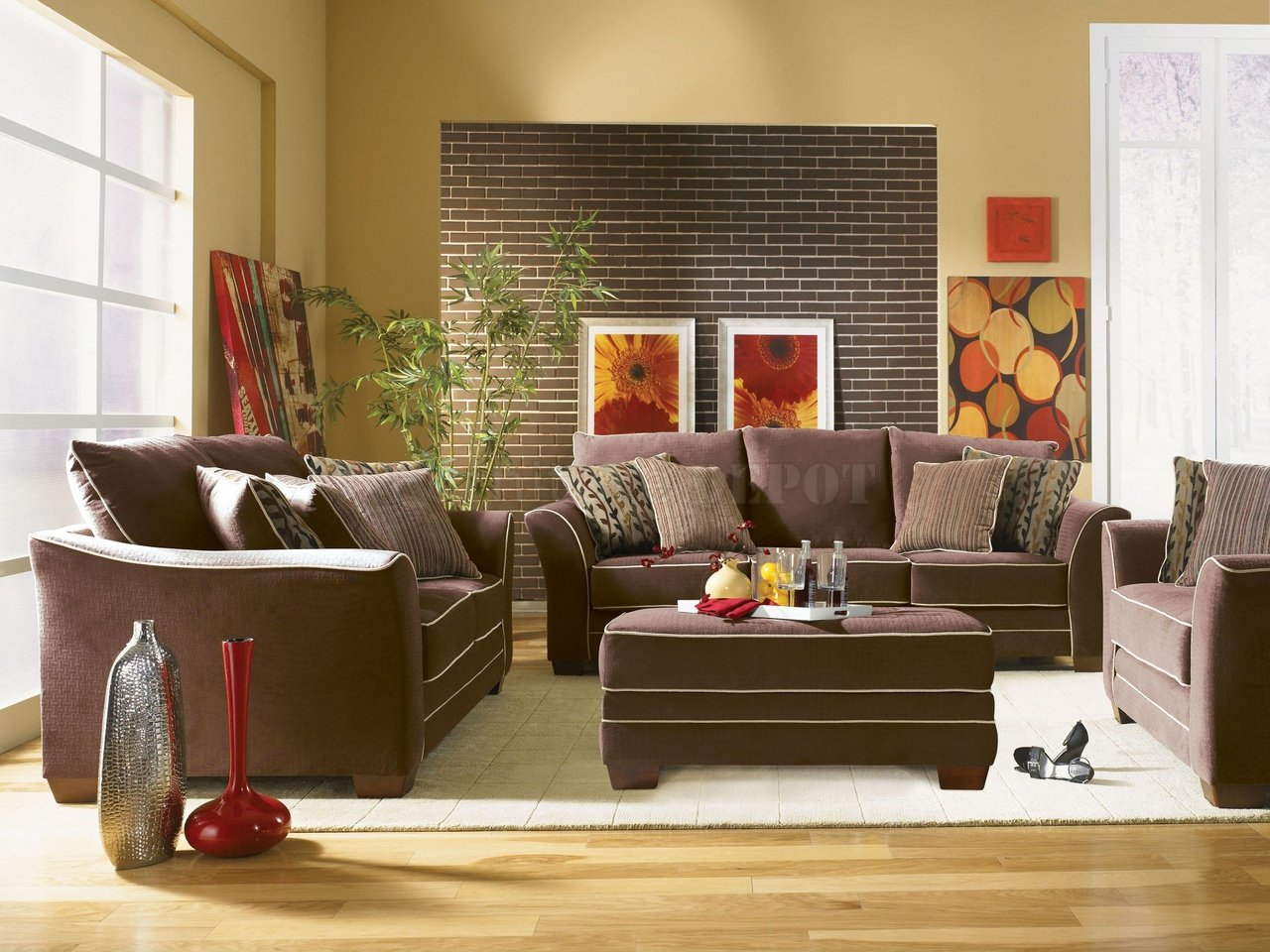 Just living room living room ideas brown sofa for Brown furniture living room ideas