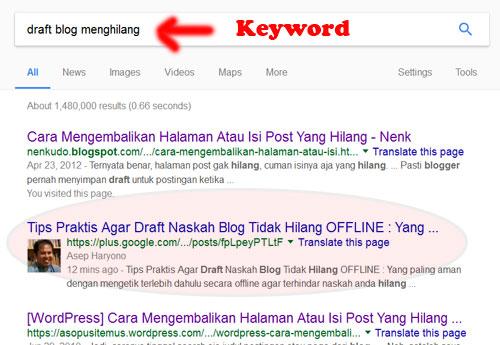 "GOOGLE :   Sempat menempati rangking ke -2 Google denga keyword (kata kunci) ""draft blog menghilang"".  Foto internet"