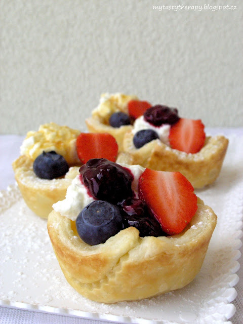 puff pastry custard bowls with fruit and whipped cream
