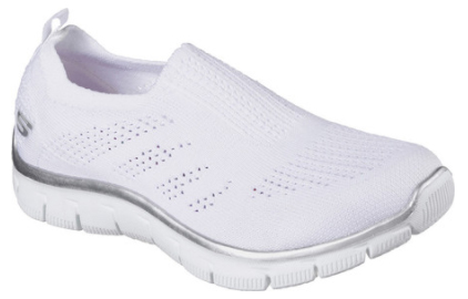 image of white slip-on sneakers with a sporty, interwoven knit mesh fabric and ventilating panels