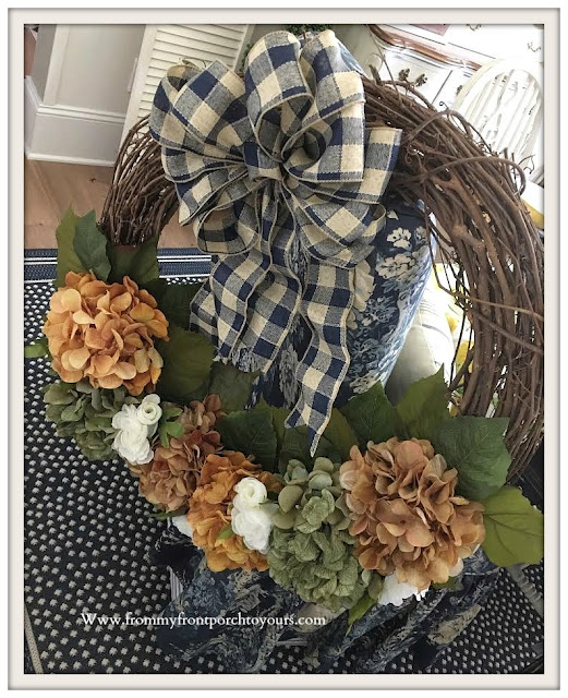 DIY-Fall- Hydrangea -Grapevine-Wreath-Blue-Buffalo-Check-Bow-From My Front Porch To Yours