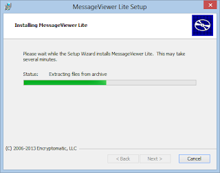 Image shows .eml viewer installation process underway.