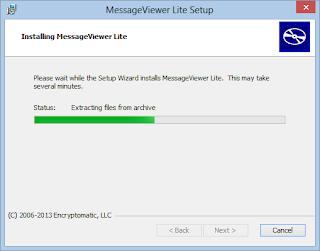 Image shows .eml viewer installation process underway.