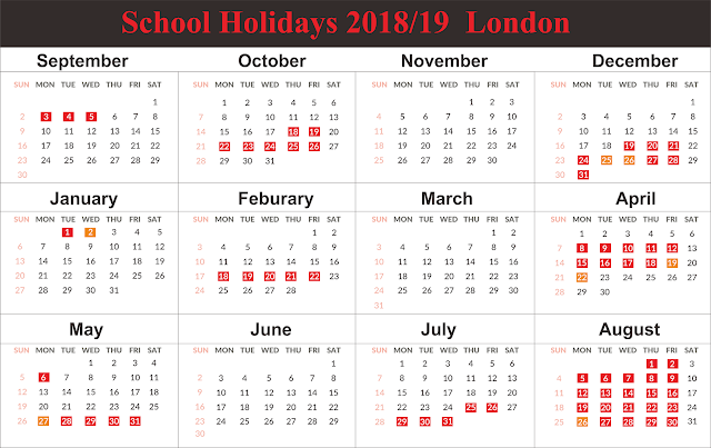 London School Holidays 2019 Calendar Free