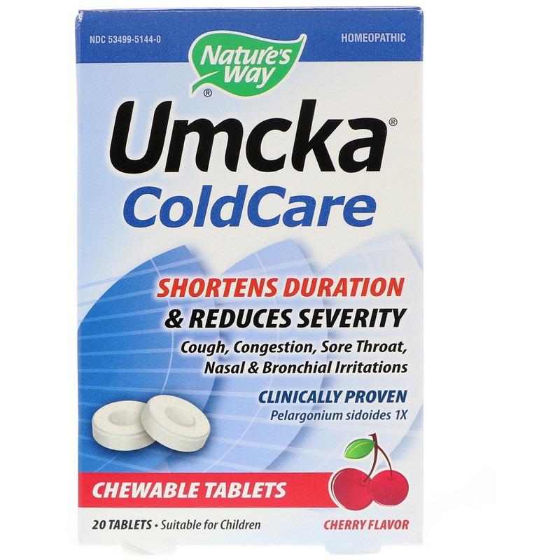 Nature's Way, Umcka, средство от простуды, вишня, 20 таблеток