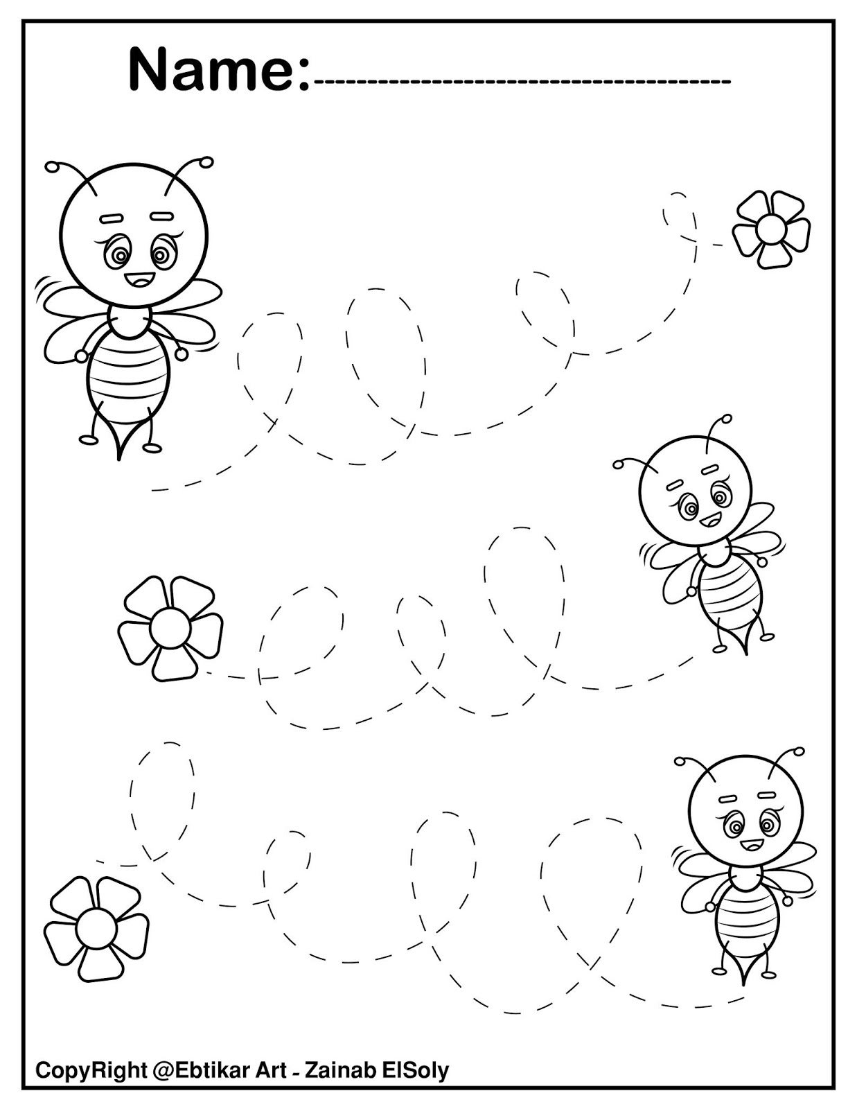 Set Of Fine Motor Tracing Bee Activity