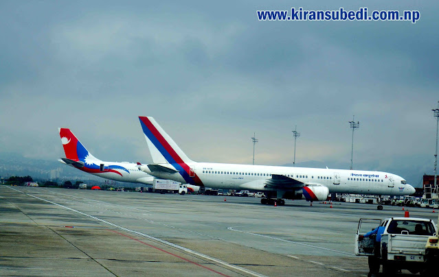 Nepal airlines Airbus and Boeing 757 at International Gate of VNKT