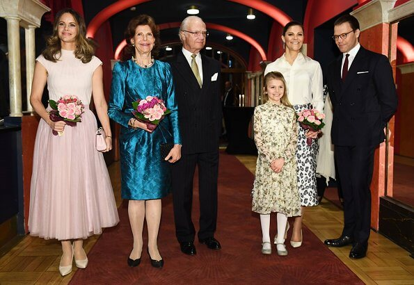 Queen Silvia, Crown Princess Victoria, Prince Daniel and Princess Sofia. Princess Estelle wore Bonpoint maiween floral dress
