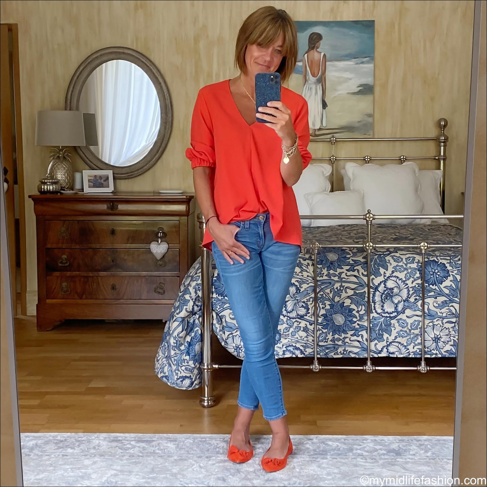 my midlife fashion, tibi red v neck top, j crew 8 inch toothpick jeans, j crew suede tassel ballet flats