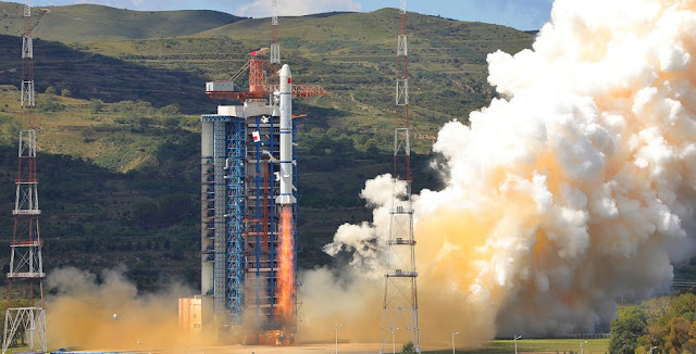 Long March 2C with Haiyang-1C lifts off from the Taiyuan Satellite Launch Center on September 7, 2018. Photo Credit: Xinhua/Zheng Taotao.
