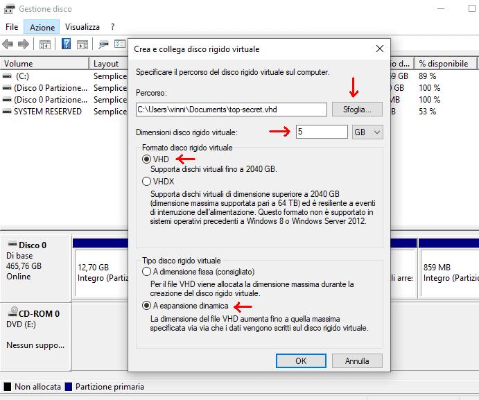 Gestione disco finestra Crea e collega disco rigido virtuale