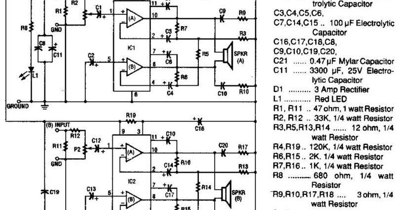 only wiring and diagram: 20W Stereo Amplifier Circuit Diagram