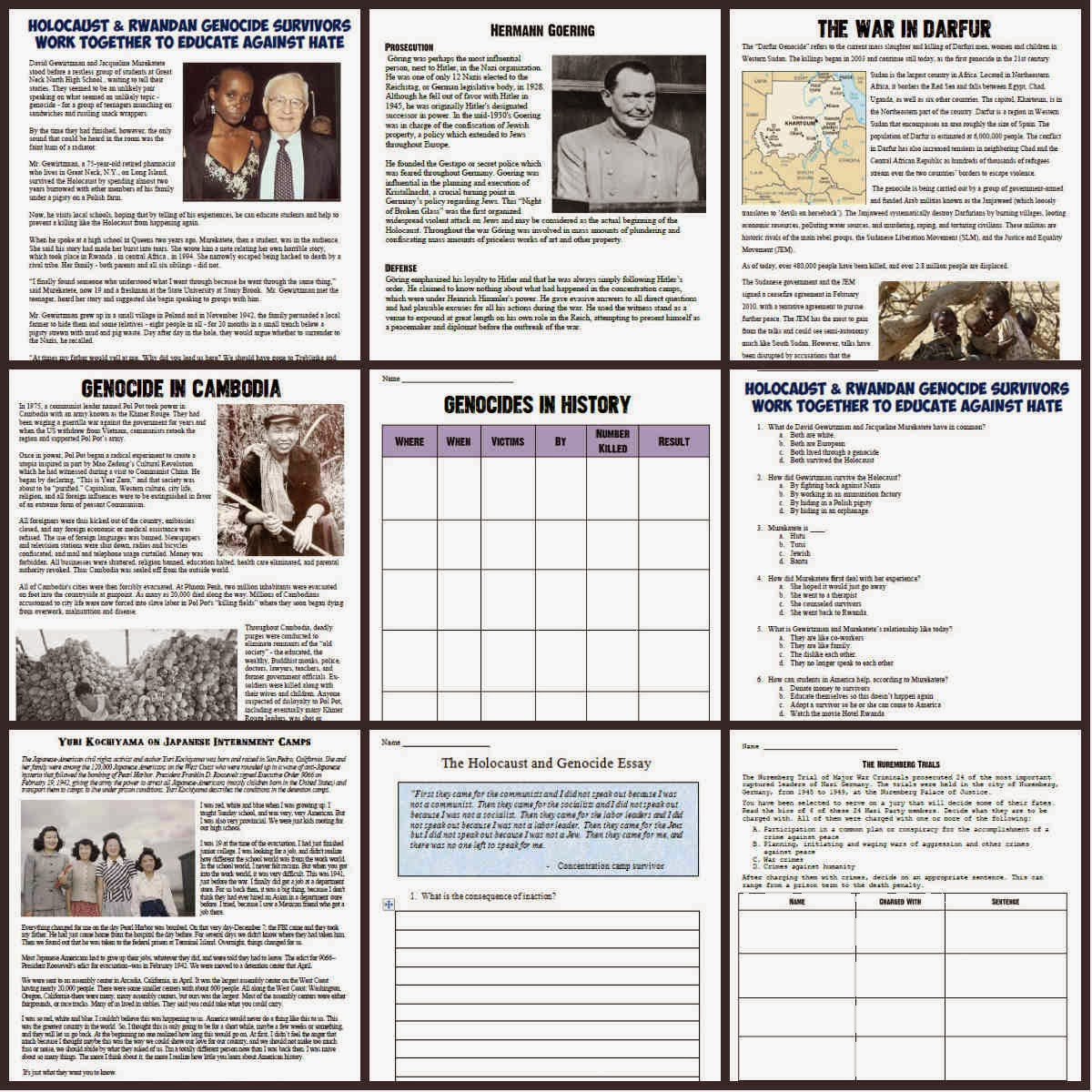 Holocaust Worksheets Free