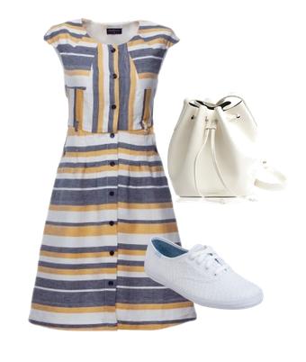 vestido camisero rayado + sneakers blancas + bolso saco blanco