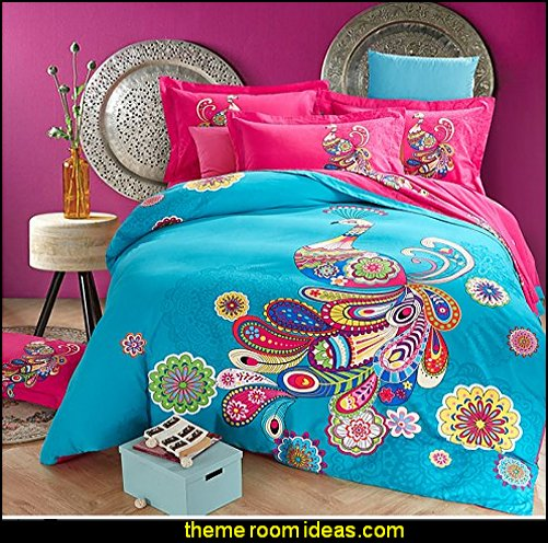 Peacock Print Bedding   Peacock theme decorating - peacock theme decor - exotic style decorating - Peacock Decorations - Peacock Nursery - peacock wall decoration - peacock Christmas decorating - peacock color decor - peacock wallpaper - peacock bedding - life size peacock decorations - Peacock feather