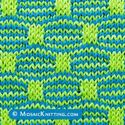 The Wave and Box Mosaic is a two color slip stitc. You only need to knit one colour at a time. Use two double-point needles or a circular needle.