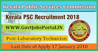 Kerala Public Service Commission Recruitment 2018 – 28 Junior Public Health Nurse, Laboratory Technician