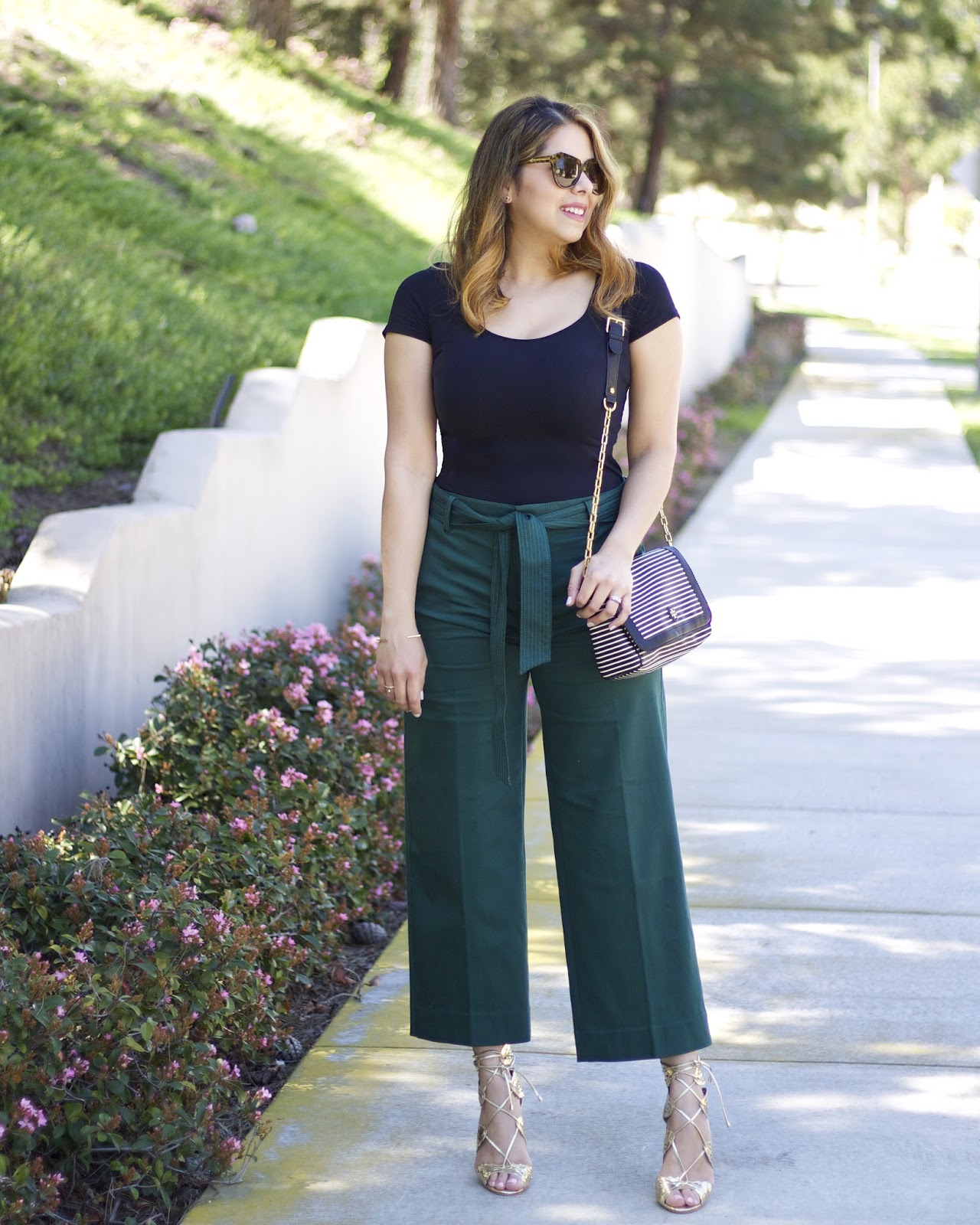 banana republic wide leg pant, gold lace up heels, shoedazzle blogger, shoedazzle flora heels
