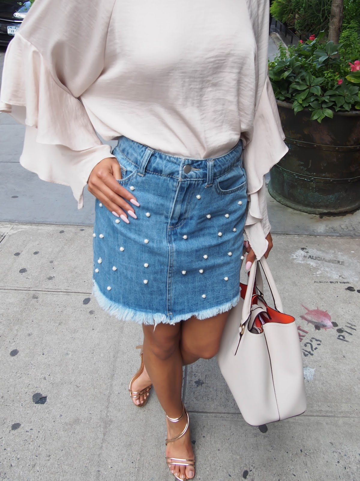 NYFW The Shows, NYFW, street trends, street style 2019, New York Fashion Week, NYFW Street Style, NYFW 2019, The Strong Suit, Pearls, Jean Skirt, Coffin Nails, NC Blogger,