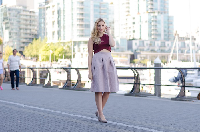 How to Style a Lilac Midi Skirt