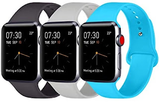 3. Pack 3 Compatible with Apple Watch Bands 38mm 40mm 42mm 44mm, Soft Silicone Band Compatible with iWatch Series 5, 4, 3, 2, 1