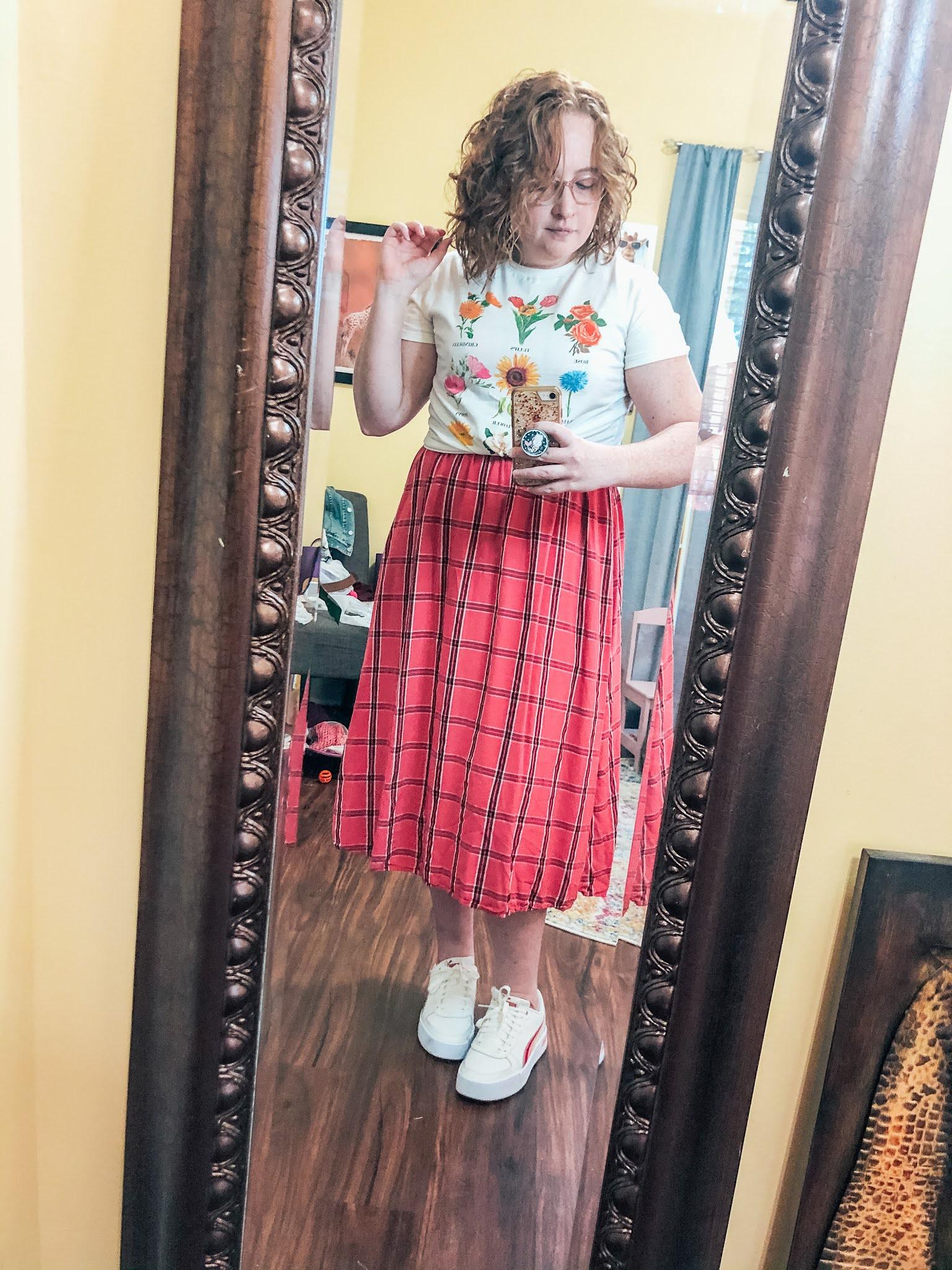 flower-tshirt-over-plaid-midi-dress-sneakers