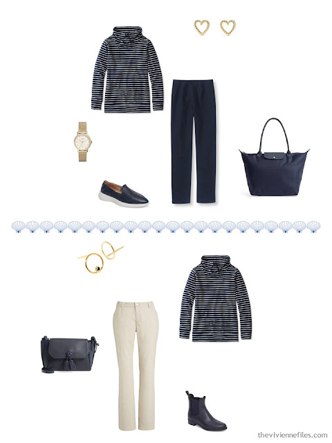 2 ways to wear a striped sweatshirt from a 4 by 4 Travel Capsule Wardrobe