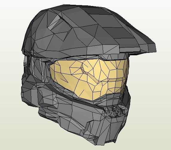 PAPERMAU: Halo 4 - Master Chief Helmet Paper Model - by