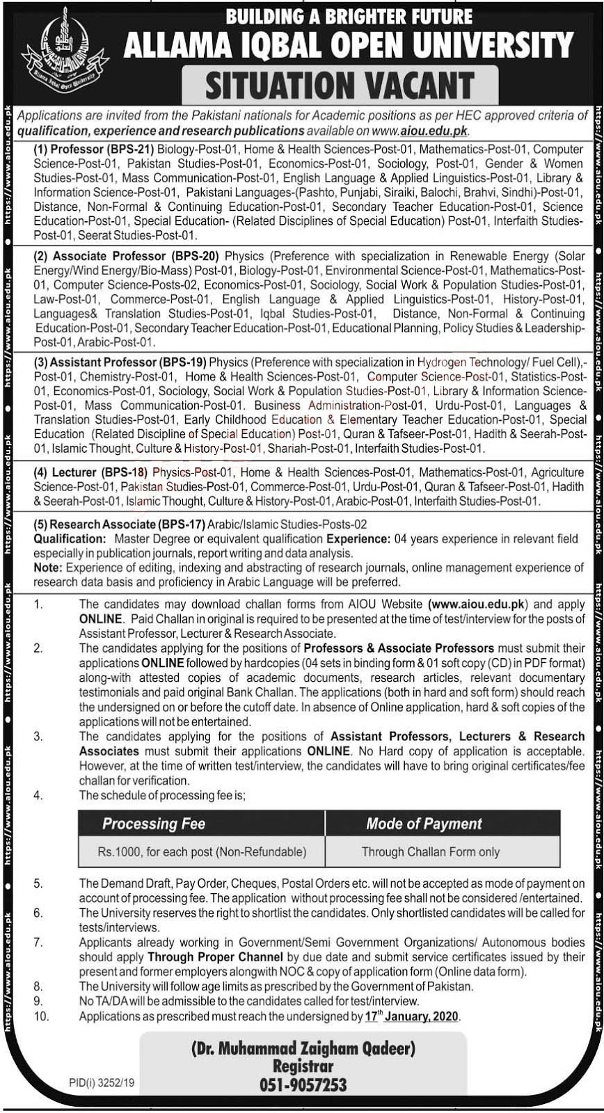 Jobs in Allama Iqbal Open University Latest Advertisement 2020