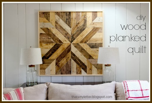 diy wood planked quilt wall art