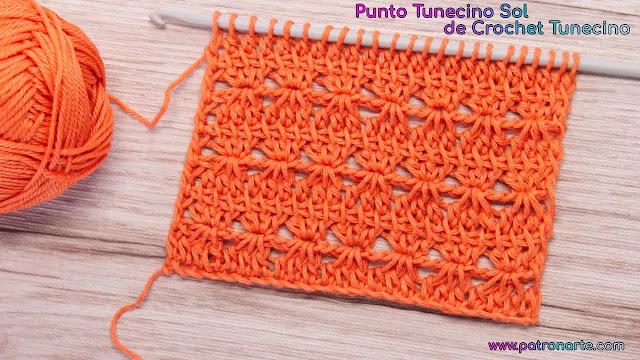 Punto Tunecino Sol a Crochet Paso a Paso