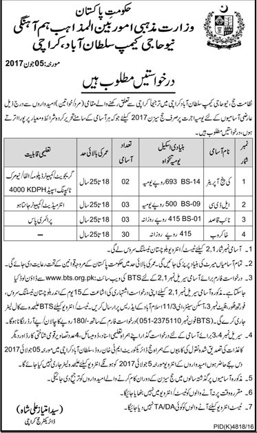 LDC, Naib Qasid & other Jobs In Ministry Of Religious Affairs Karachi 22 June 2017