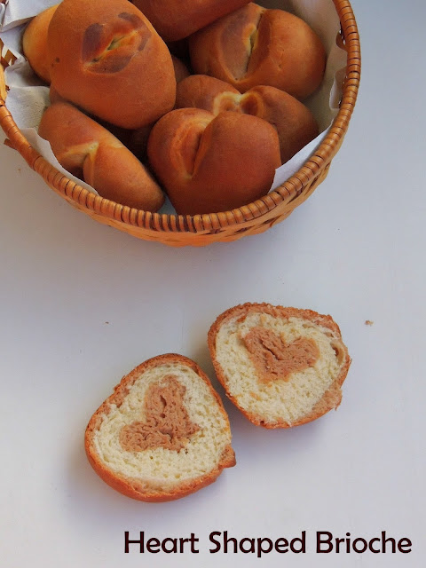 Brioche with chocolate heart